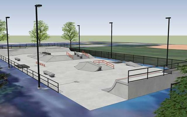Outdoor skate park rendering